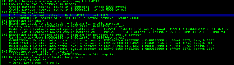 Mona helps in identifying the offset for the EIP overwrite (offset 1109).
