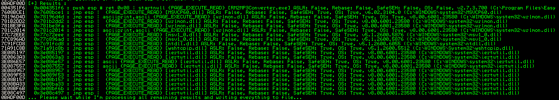 Moan.py lists the possible JMP ESP instructions.